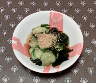 Vinegary Salad of Cucumber and Wakame Seaweed